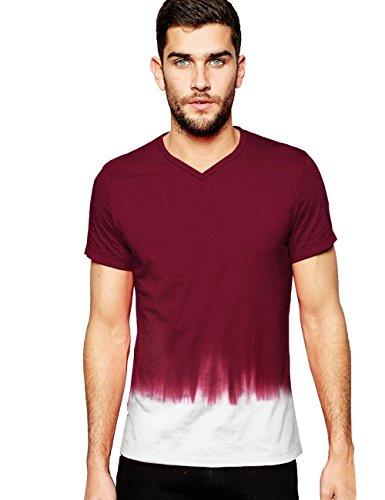 Italy Morn T-shirt Für Herren Blank Dip Tie Dye Basic Baumwolle Cotton Kurze Armel Short Sleeve V ausschnitt V-Neck Casual Fashion Slim Fit Tee (S(165/88A), Burgund) (Herren Blank Rot T-shirt)