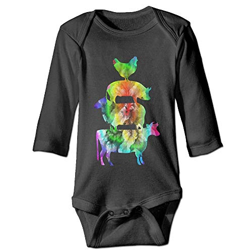 ZUIAI BABA Friends Not Food Vegan Colourful Unisex Baby Infant Long Sleeve Onesies Bodysuits Cotton