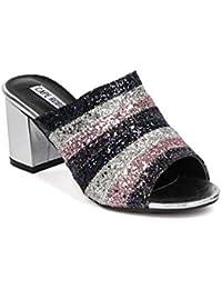 688a0424515 Cape Robbin Women Striped Block Heel Mule - Open Toe Chunky Heel Sandal -  Heeled Slides