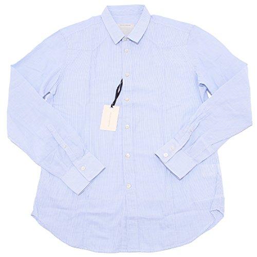 39938 camicia uomo MAURO GRIFONI bianco azzurro shirt men long sleeve [17.1/2 (44)]