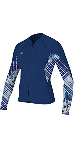 O';Neill Womens Bahia 1 MM Full Zip Langarm Neoprenanzug Mantel Jacke Mantel Navy Indigo Patch Ultraflex (Indigo Patch)