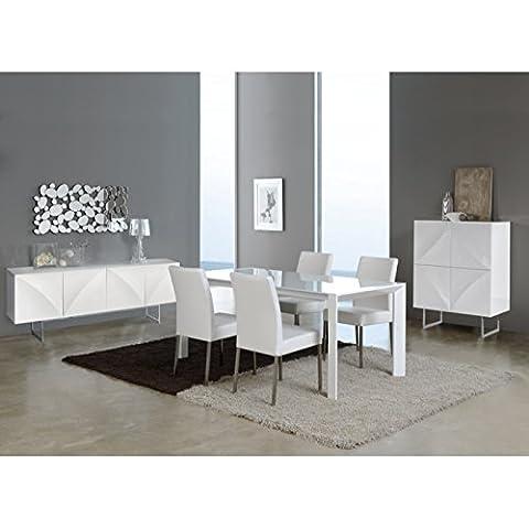 Table AURIGA extensible en verre et métal laqué blanc longueur