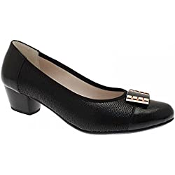 Alpina Women's Low Heel Court Shoe With Buckle 3.5 Black
