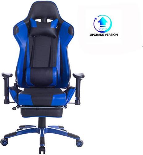 Wolmics 2019 Upgrade Version Gaming-Stuhl mit Fußstütze,Computerstuhl Schreibtischstuhl Rennstil Ergonomisches Design Leder Bürostuhl Drehstuhl Chefsessel mit Lordosenstütze Kopfstütze WS204 Blau