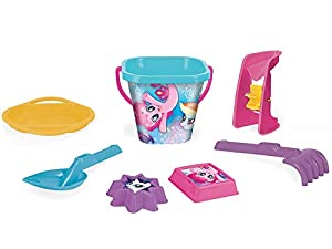 Wader 76242 My Little Pony - Juego de Cubos con escurridor, Molinillo de Arena, Pala, rastrillo y 2 moldes de Arena (7 Piezas)