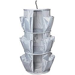 MF M & F 3capa redondo giratorio zapatero armario Gabinete de almacenamiento bolsa de almacenamiento multifuncional para colgar bolsa