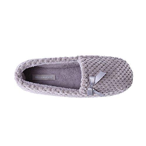 WILLIAM & KATE Pattern di bowknot grigio ananas della donna Comodo pantofola della gomma piuma di memoria Grigio