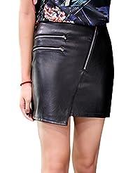 Molie Mini jupe Cuir PU Noir Doublure et Fermeture en Diagonale Élégante