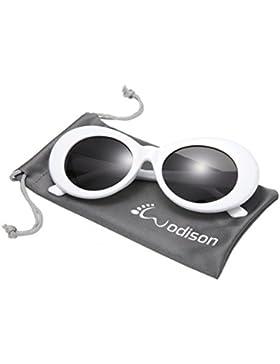 WODISON Occhiali da sole unisex Occhiali da sole ovali mod vintage Occhiali da vista con montatura spessa