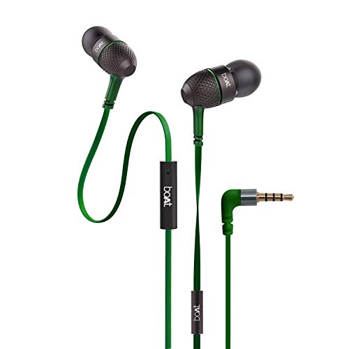 boAt BassHeads 228 Extra Bass with Pouch in Ear Wired Earphones with Mic  Forest Green