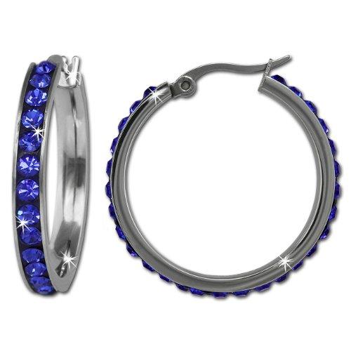 Amello in acciaio inox Orecchini Cerchio Rotondo Con Cristalli Swarovski, colore: blu, diametro 30mm-donna-orecchini a cerchio in acciaio inox esos04b