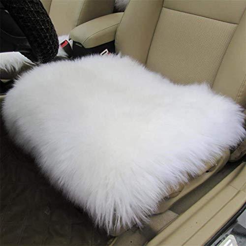 H.aetn Autositzbezüge, Universal Komplettset Deluxe Schaffell Wolle Autositzbezug Stuhl Pad-3 Stück (Farbe: Weiß) -