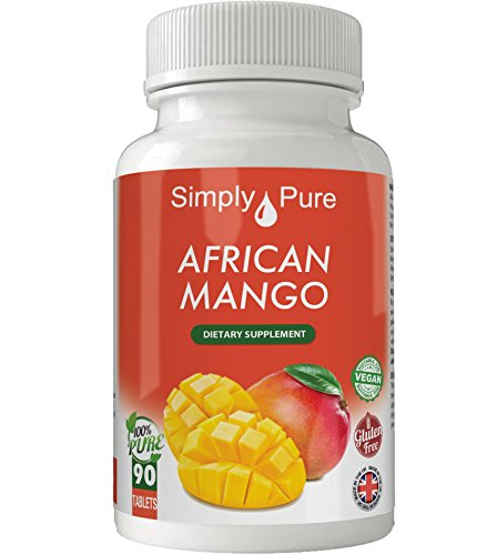 African Mango, 90x Tablets, 100% High Strength, Aids Weight Loss, Improved Cholesterol Profile, Lower Blood Pressure, Gluten Free, Vegan, Exclusive to Amazon, Simply Pure, Moneyback Guarantee.