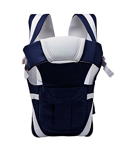 John Richard Adjustable Hands-Free 4-In-1 Baby Carrier BagWith Comfortable Head Support & Buckle Straps (Navy-Blue)
