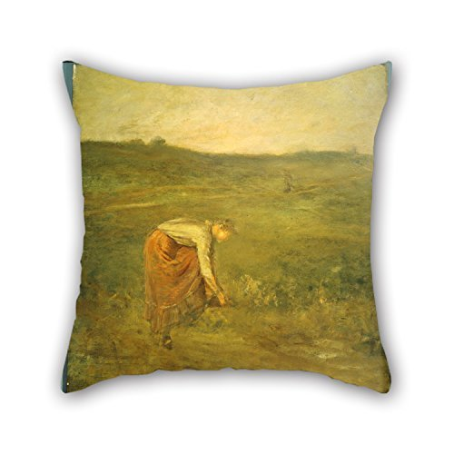 beautifulseason Oil Painting George Fuller - Girl Tying Her Shoe Pillow Cases,Best for Drawing Room,Wife,Christmas,Son,Wife,Car Seat 18 X 18 Inches/45 by 45 cm(Double Sides) (Aqua Girl Cheetah)