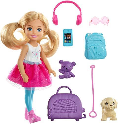 Barbie FWV20 - Reise Chelsea Puppe mit Hündchen und Zubehör aus Barbie Dreamhouse Adventures, Puppen Spielzeug ab 3 Jahren (Barbie-puppe-handy)