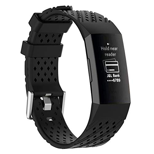 Sguan-wu - Hollow - verstellbares Ersatzarmband für Armband Fitbit Charge 3 - Schwarz