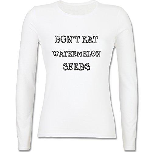 Schwangerschaft - Don't eat watermelon seeds - tailliertes Longsleeve / langärmeliges T-Shirt für Damen Weiß