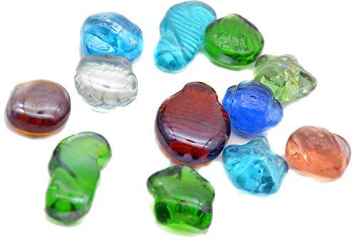 arsuk 12 x marmi marmi in stile art glass a forma di vetro, 5 diverse forme e colori 25mm, in una borsa