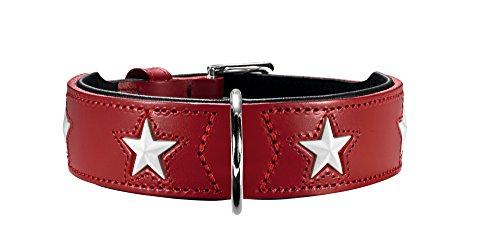 HUNTER Magic Star Hundehalsband, Leder, rot/schwarz, 55
