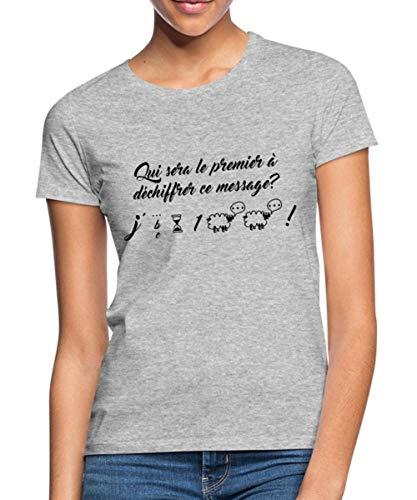Spreadshirt Grossesse Annonce J'Attends Un Bébé T-Shirt Femme, S (36), Gris chiné
