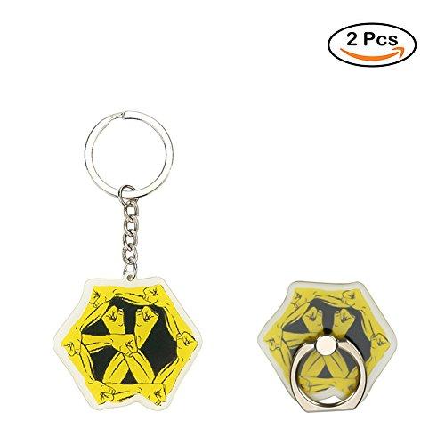 Coaste Antilane EXO Handyhalter Ring & EXO Keychain, KPOP EXO Band Members Fan Schlüsselbund Schlüsselanhänger Anhänger Ornament und Handy Fingerhalter Halter Halterung