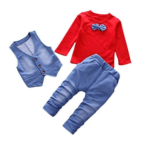 Feixiang® tops per bambini denim a manica lunga, neonato ragazzi bambino gilet + giacca + pantaloni, 3pcs, farfallino da cowboy, abito completi set di vestiti a tre pezzi