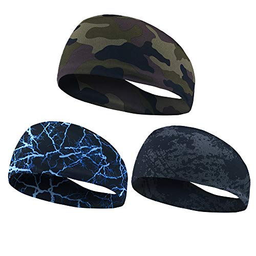 NUREINSS Adult Stirnband 3PCS Non Slip Unisex Stretch Elastische Sport Schweißband Headbands Head Wrap für Yoga, Basketball, Running, Fußball, Tennis-Haarschmuck (Color6), 25X10CM