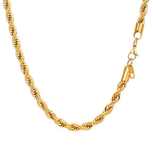 PROSTEEL 6mm breit Kordelkette Herren Halskette 18k vergoldet French Rope Kette 61cm Kettelänge, Gold