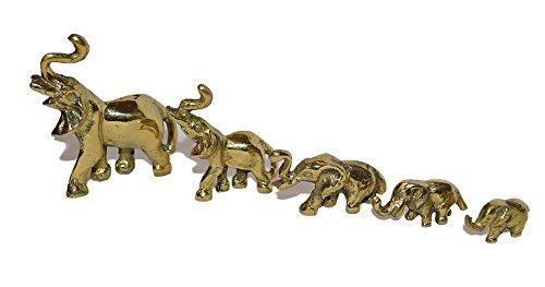 Garg Familia de Elefantes de latón Macizo Pulido Juego de 5