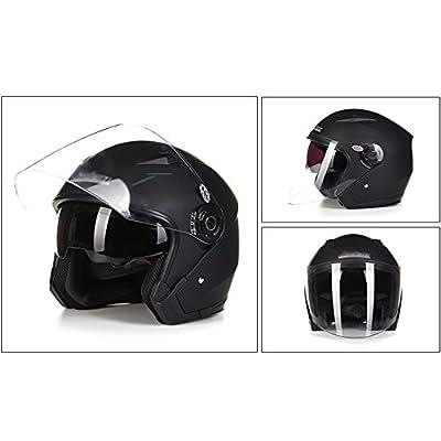 MERRYHE Motorbike Flip Up Helmets Double Visor Open Face Helmet For Unisex Women Men Motorcycle Hard Hat Scooter Electric Vehicle,Matt-black-XL(57-58CM) by Toukui