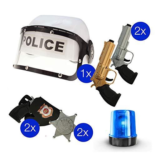 TK Gruppe Timo Klingler Polizei Set SEK SWAT Police Ausrüstung Austattung für Kinder, Karneval, Fasching mit Helm, Polizeihelm, Pistole UVM.