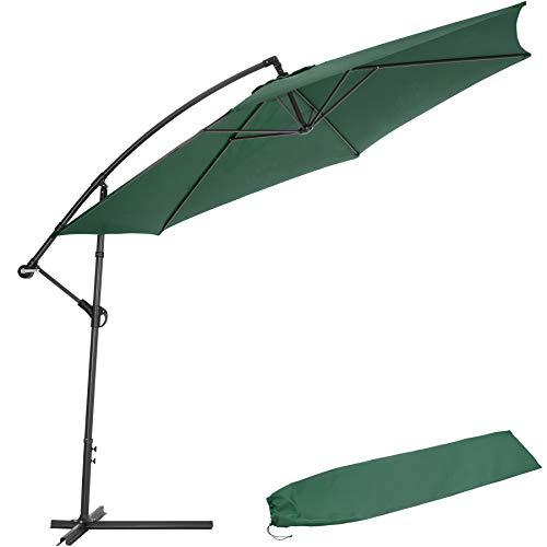 TecTake 800033 Sonnenschirm Ampelschirm mit Gestell + UV Schutz 350cm + Schutzhülle - Diverse Farben - (Grün | Nr. 400623)