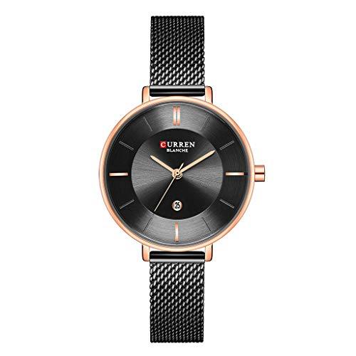 REALIKE Damen Armbanduhren Einfach Kalender Wasserdicht Mesh-Gürtel Strass Uhren Elegant Ultradünn Britische Artart und Weise Neue High End Geschäftsuhr Business Freizeit