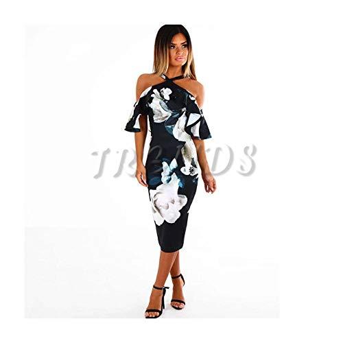 DROTYK& Ladies Women Summer Floral Print Bardot Bodycon Evening Party Flower Midi Dress Blue L Old Navy Floral Dress