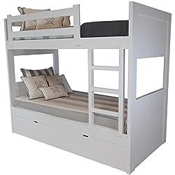 Sueñomueble - Litera 3 camas dm(mdf) 4 cms, no melamina. lacada en blanco.mod.patricia.