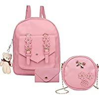 3-PCS Fashion Cute Stylish Leather Backpack & Sling Bag Set for Women, School & College Girl's