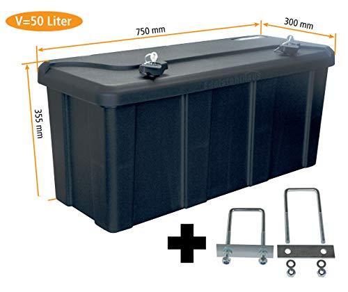 *Blackit L – 750 x 300 x 355 mm + Montagesatz MON4002 Edelstahlhaus, Deichselbox mit 2 Schlösser, Werkzeugkasten für Anhänger Staukiste 50 ltr Anhängerbox, Daken B50-2*