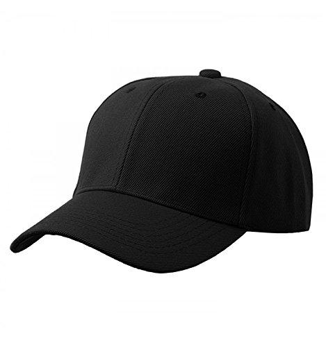 Gorra de béisbol ajustable de algodón de estilo vintage unisex marca (Negro)