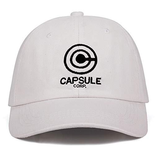 Yhtdhaq Capsule Corp. Papá Sombrero Dragon Ball Anime Canción 100% Algodón Bordado Sombreros del Snapback Gorras de béisbol Unisex Hombres Mujeres Sombreros de Vacaciones,Blanco