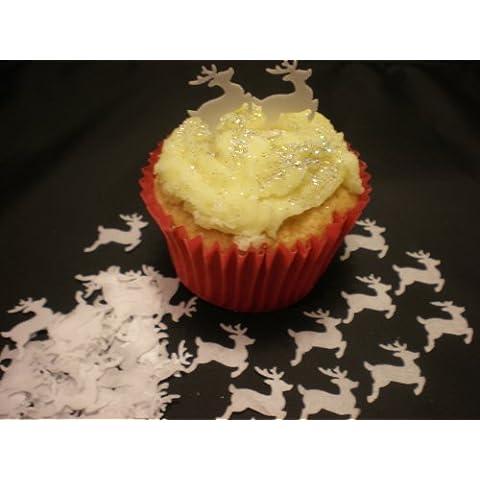 100 Mini reno comestible de oblea blanca adornos para tartas - ideal para Navidad de decoración de magdalenas
