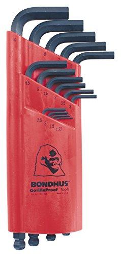 Bondhus Ball End Innensechskantschlüssel, 15PC Set 1, 27–10mm bon10995 (Bondhus 4 Mm Balldriver)