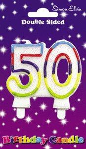 Simon Elvin Lot de 50 ans pour gâteau d'anniversaire Multicolore Bougie Décoration Gâteau Doulbe face
