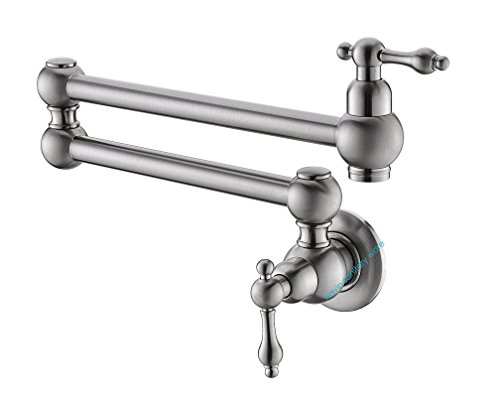 Havin Pot Filler Folding Stretchable Double Joint Swing Arm Brushed Nickel Wall Mount Kitchen Faucet, Single Hole Two Handle Kitchen Sink Faucet (Pot filler Faucet Style B_BN) - Single Arm Wall Mount
