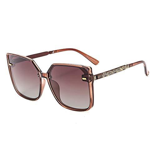 Sonnenbrille Mode Polarisierte Sonnenbrille Metall Große Platz M Nagel Sonnenbrille Wilde Brillen für Männer und Frauen, Tee Frame Progressive Tea