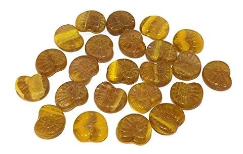 Gelb Braun Nautilus Tschechische Glas Picasso Perlen Ammonit Perlen Ammonit Fossilen Perle Seashell Perlen Nautilus Muschel Perlen 17mm x 14mm 6pc