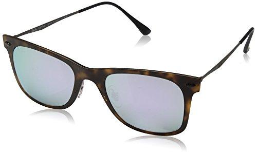 Ray Ban Herren Sonnenbrille Wayfarer Light Ray Braun (Matte Havana/Lilac Flash) One size (Herstellergröße: 50)