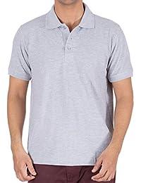 Shadez Men's Cotton Plain Polo T-shirt(Grey) (Large)