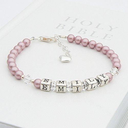 Vintage Rose et Perle en argent sterling Bracelet baptême Nom