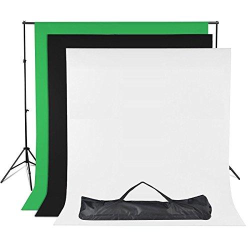 Mussola Fondale Fotografico Kit -Sfondo Supporto alluminio/Sfondi Di 1.8x2.8m 100% mussola Verde-Idoneo per Effetti Chromakey, Bianco, Nero, /Borsa per il trasporto per Studio Fotografico Professionale Kit
